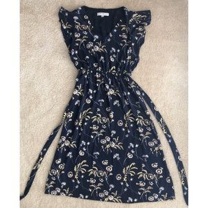 LOFT Navy Floral Midi Dress with Flutter Sleeves